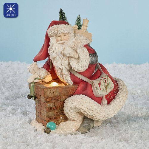 Santa with Chimney Figurine Multi Warm