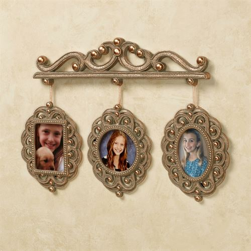 Radiant Bead Triple Photo Frame Aged Gold
