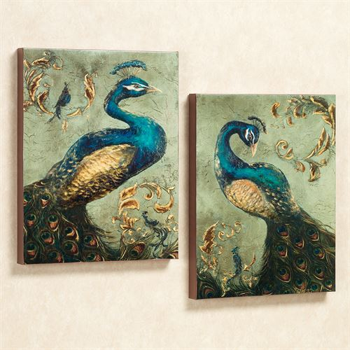 Peacock Canvas Art Set Multi Jewel Set of Two