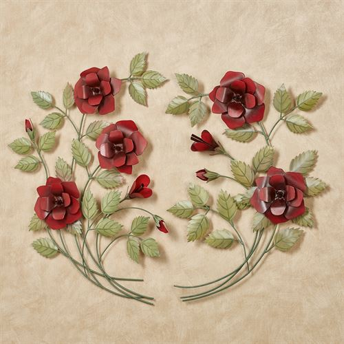 Les Fleurs Red Rose Spray Metal Wall Art Set