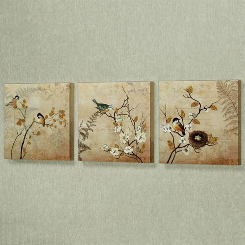 Kiss of Nature Canvas Wall Art Beige Set of Three