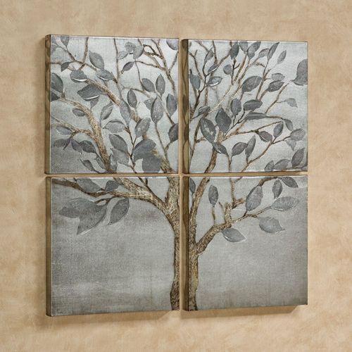 Solitude Tree Quadtych Canvas Wall Art Set