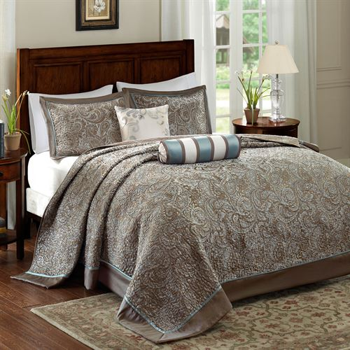 Bedspreads.Aubrey Taupe Paisley 5 Pc Bedspread Set By Madison Park