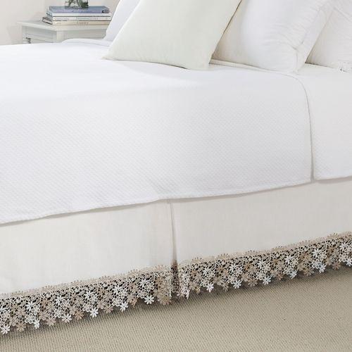 Misha Semi Sheer Macrame Bedskirt Ivory
