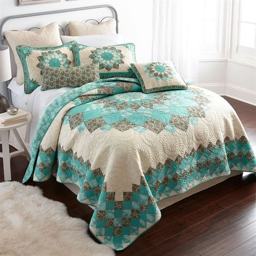 Details about  /Donna Sharp Sea Breeze Star Quilt **QUEEN** 3-PC Set Floral Country Cottage Teal