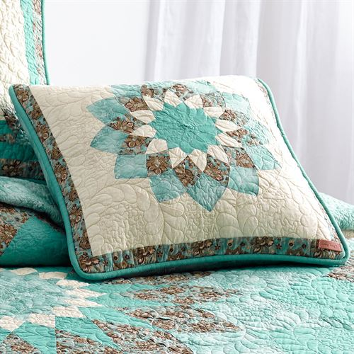 Sea Breeze Dahlia Blossom Quilted Pillow Turquoise 18 Square