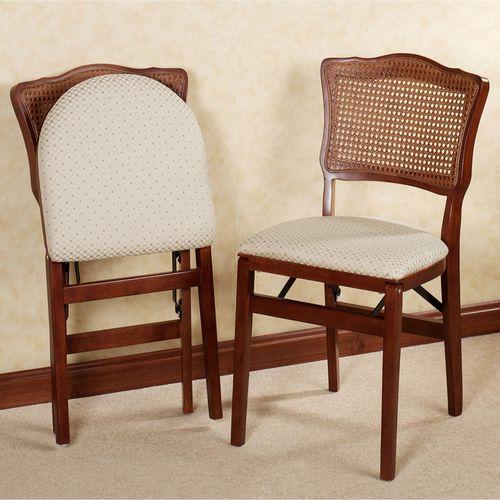 Dover Cane Folding Chair Pair  Pair