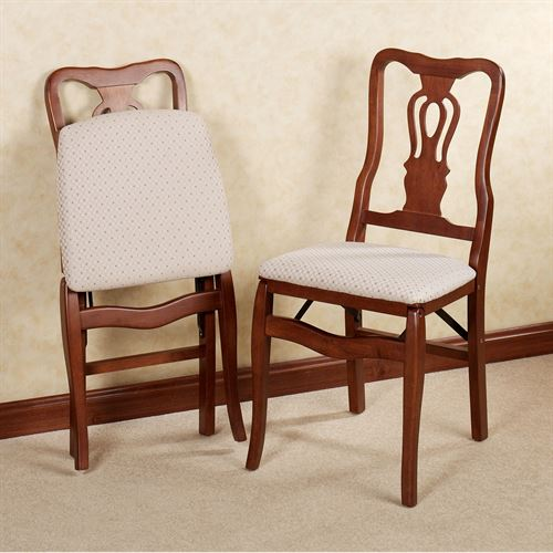 Scroll Back Folding Chair Pair Classic Cherry Pair
