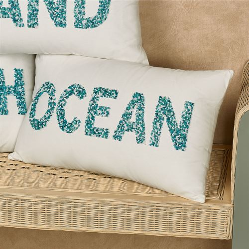 Seashore Beaded Coastal Word Decorative Pillows Magnificent Decorative Pillows With Words