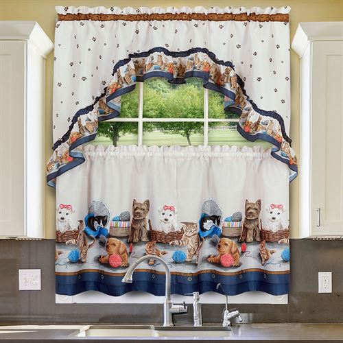 Playtime Semi Sheer Tier and Swag Valance Set Parchment