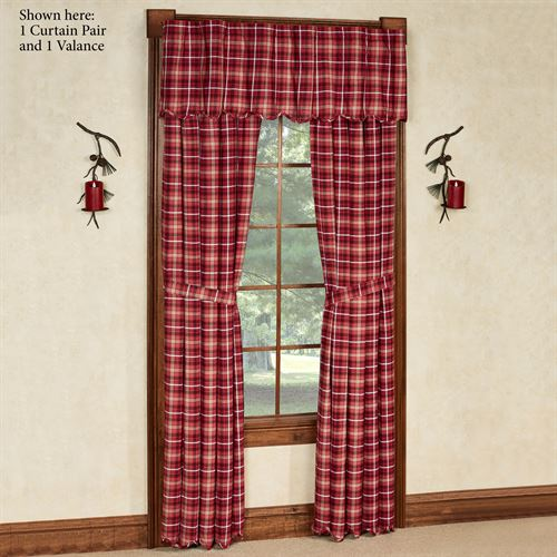 Braxton Cabin Tailored Curtain Pair Dark Red 80 x 84