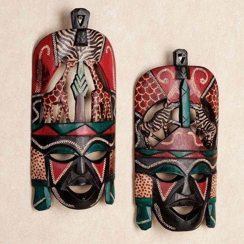 Tribal Decorative Wall Mask Set Multi Jewel Set of Two