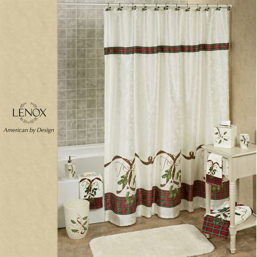 Holiday Nouveau Shower Curtain Ivory