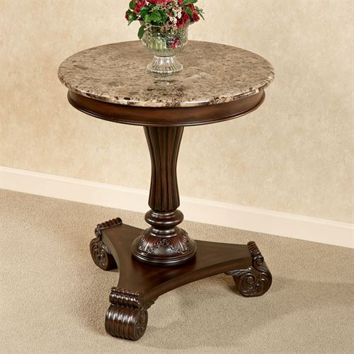4ff55e1f584 Killian Marble Top Round Table Autumn Cherry. Touch to zoom