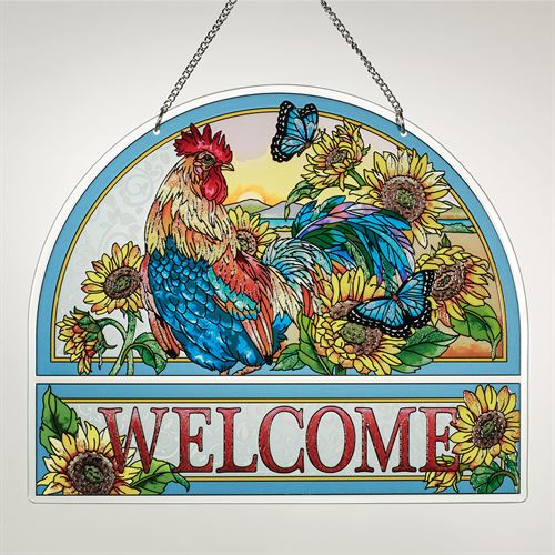 Morning Has Broken Rooster Welcome Window Panel Multi Warm