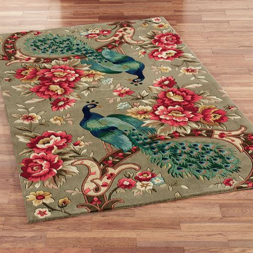 Peacock Flora Rectangle Rug Sage