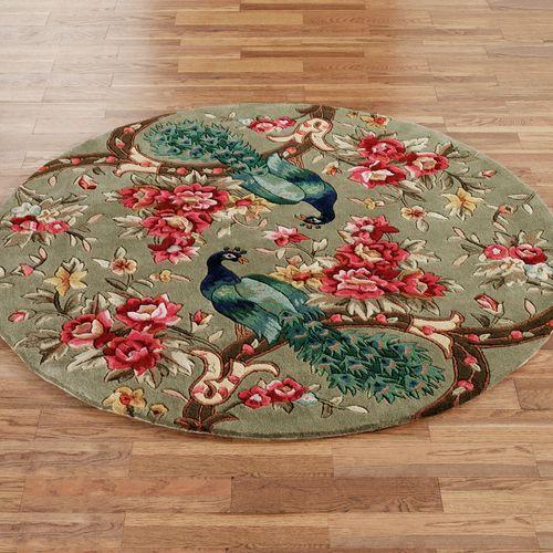 Peacock Flora Round Rug Sage 56 Round