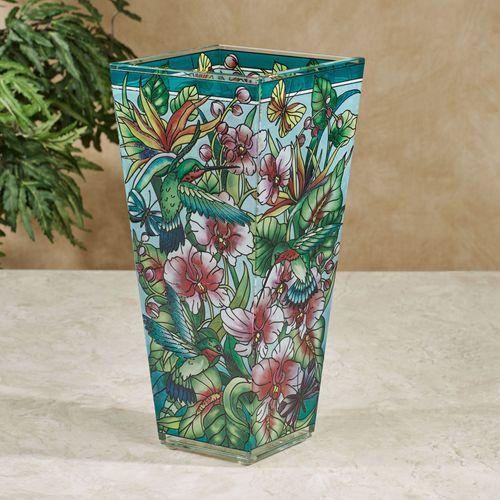 Paradise Found Hummingbird Floral Glass Table Vase