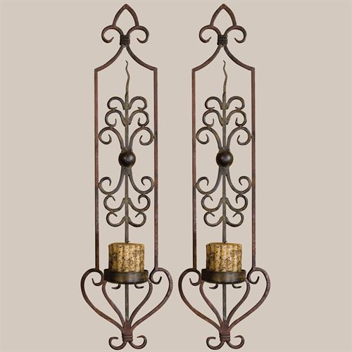Privos Metal Wall Sconce Pair With Candles