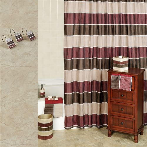 Attirant Modern Line Burgundy Shower Curtain