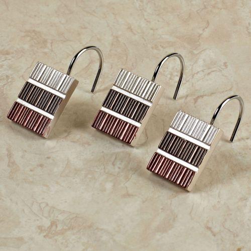 Modern Line Burgundy Shower Hook Set Set of Twelve