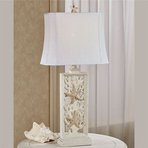 Corvian Coastal Table Lamp Antique White