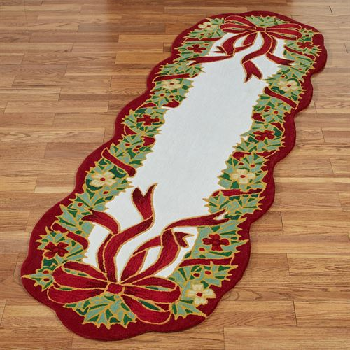 Happy Holly Rug Runner Red 26 x 8