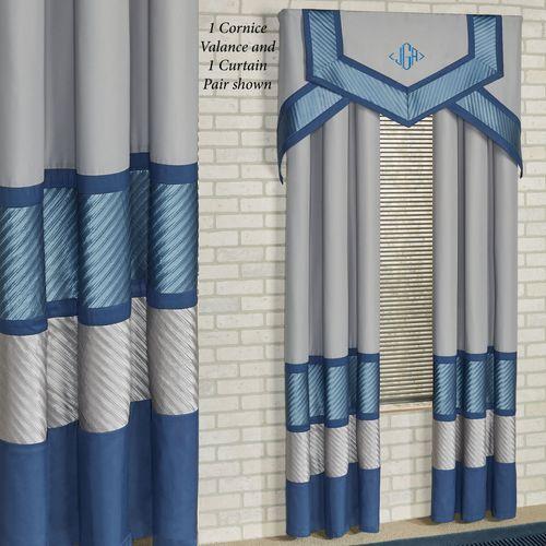 Beta Cornice Valance Set Blue Shadow Three Piece Set