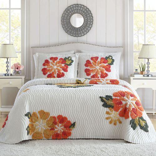 Autumn Chenille Bedspread White