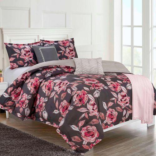 Fleur du Jour Comforter Bed Set Dark Gray