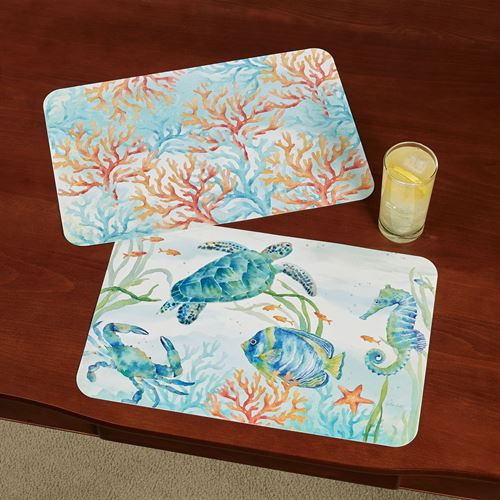 Sea Life Serenade Placemats Multi Bright Set of Four