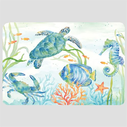 Sea Life Serenade Cushioned Floor Mat Multi Bright 30 x 20