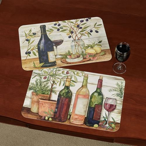 California Wine Placemats Multi Warm Set of Four