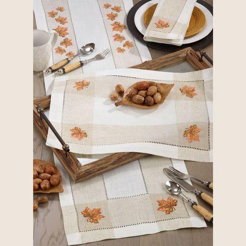 Leaf Hemstitch Table Runner Multi Warm 15 x 70