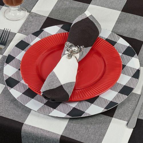 Buffalo Plaid Decorative Charger Plates Black/White Set of Four