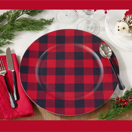 Buffalo Plaid Decorative Charger Plates Red/Black Set of Four