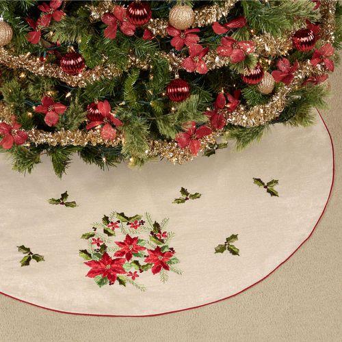 Poinsettia Ribbon Christmas Tree Skirt Red 52 Diameter