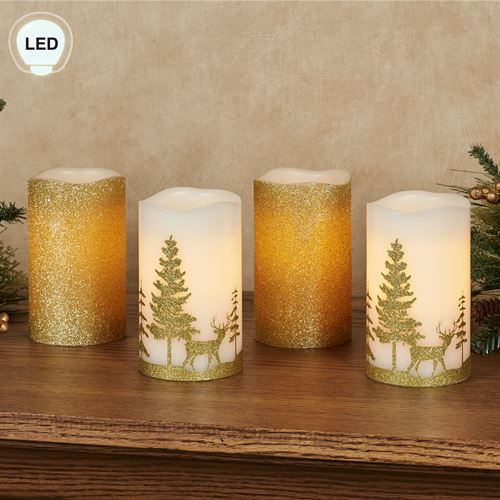 Glitter and Gold LED Flameless Pillar Candles Set of Four