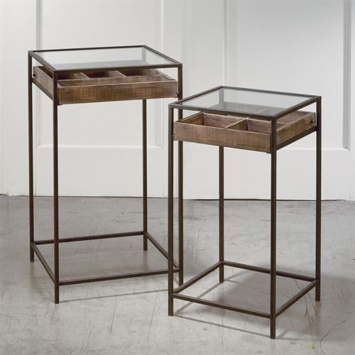 Display Storage Tables Dark Brown Set of Two