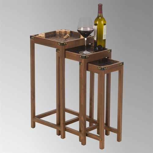 Vineyard Cork Nesting Tables Brown Set of Three