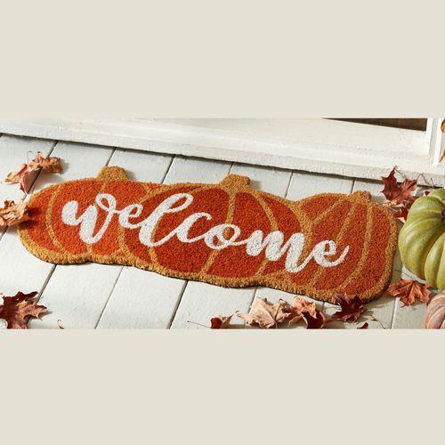Welcome Pumpkin Fall Doormat Orange