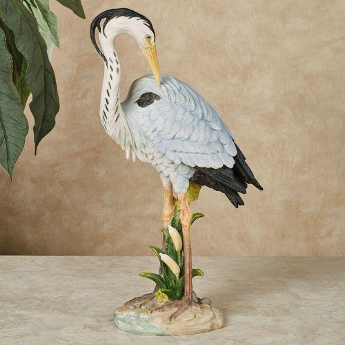 Poised Heron Table Sculpture Blue