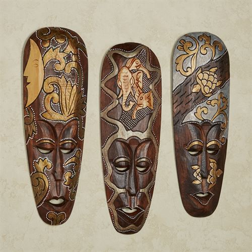 Masks of Africa Wall Art Brown Set of Three