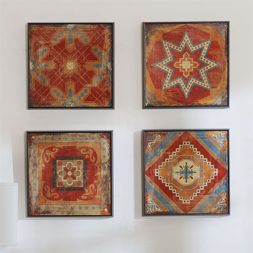 Mosaic Tile Wall Art Red Set of Four