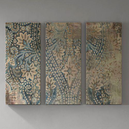 Worn Damask Triptych Canvas Wall Art Blue Set of Three