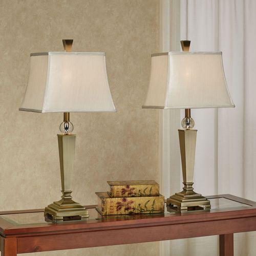 Peltier Table Lamp Pair Brushed Brass
