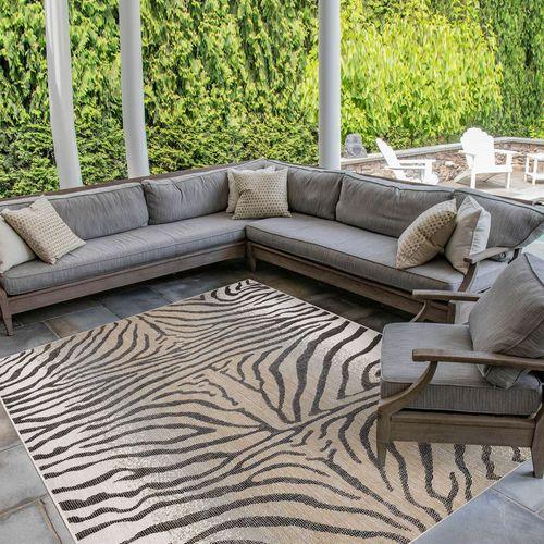 Selous Zebra Rectangle Rug Sand