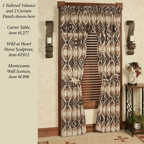 Chalet Tailored Curtain Panel Multi Earth 48 x 84