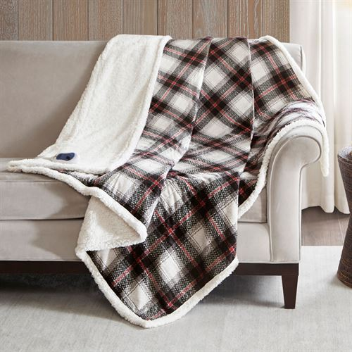 Ridley Heated Throw Blanket Black/Red 60 x 70
