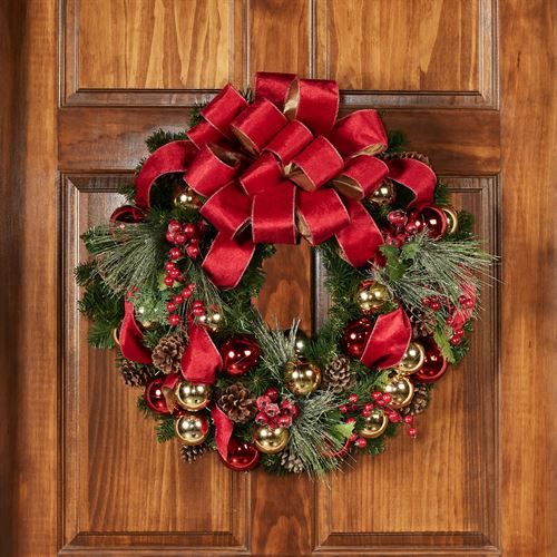 Holiday Greetings Wreath Red